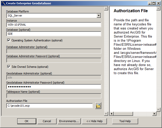 Installing ArcSDE 10 1 and setting up a geodatabase in SQL