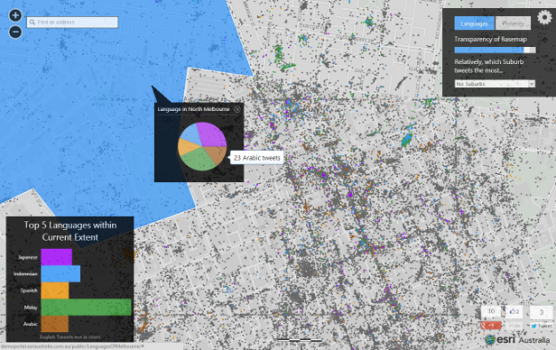 Languages of Melbourne detected from Twitter | Esri Australia
