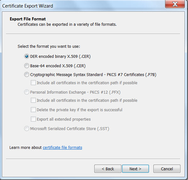 Chrome Connection Certificate export file format