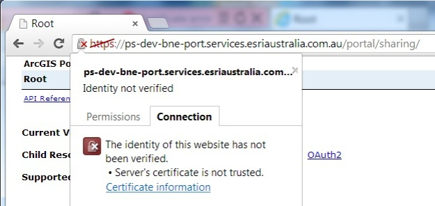 Chrome Connection Certificate information