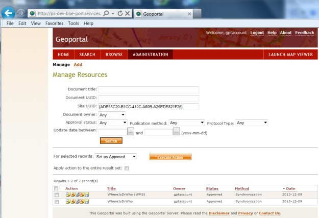 Geoportal Server documents aquired via synchronisation