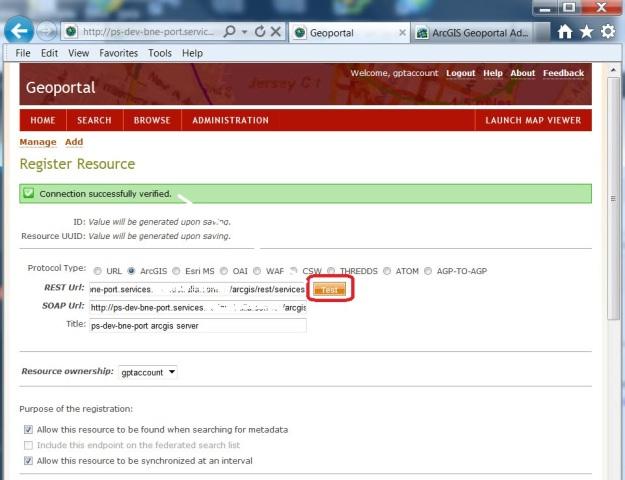 Geoportal Server Register Resource ArcGIS Server