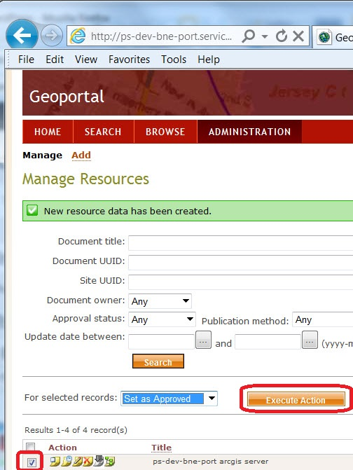 Geoportal Server Set as Approved
