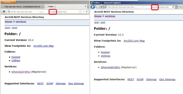 Accessing ArcGIS Services from the portal Web Adaptor