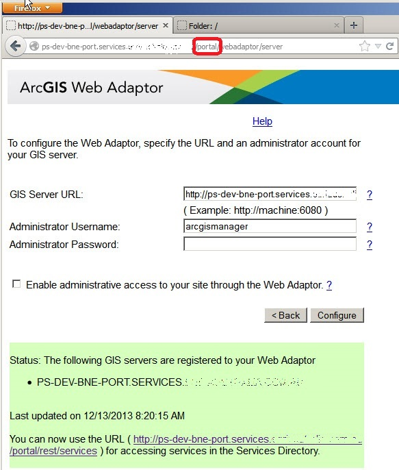 Adding an ArcGIS Server to the Web Adaptor