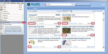 ArcGIS online dialog