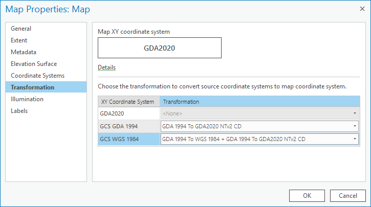 image of ArcGIS Pro Map Properties dialog box, with transformations tab selected