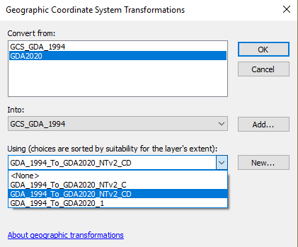 image of ArcMap Geographic Coordinate Systems Transformations dialog box