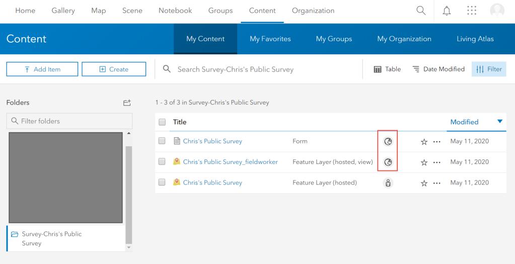 The Everyone (Public) settings on the Survey123 website push to the portal item settings